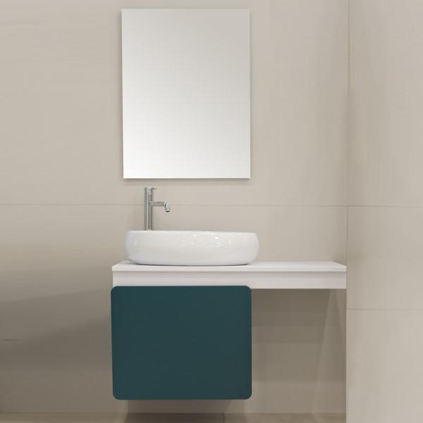 Mobile bagno sospeso 100 cm freddi laundry anta petrolio con specchio filolucido