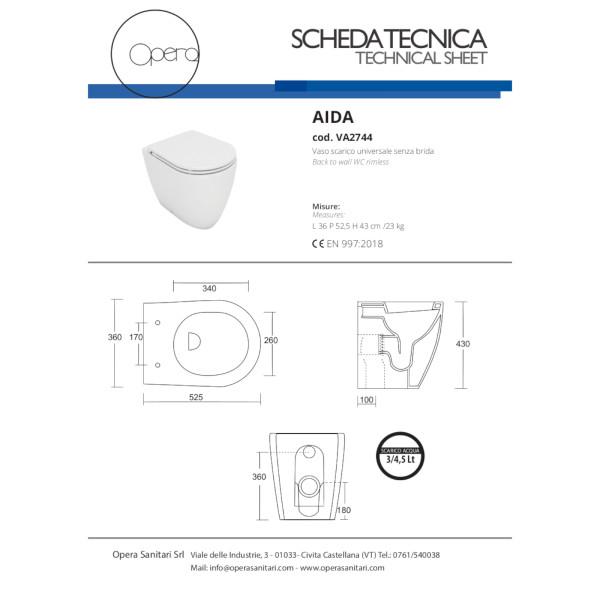 Vaso filomuro senza brida opera sanitari aida in ceramica bianco con copriwc avvolgente soft close