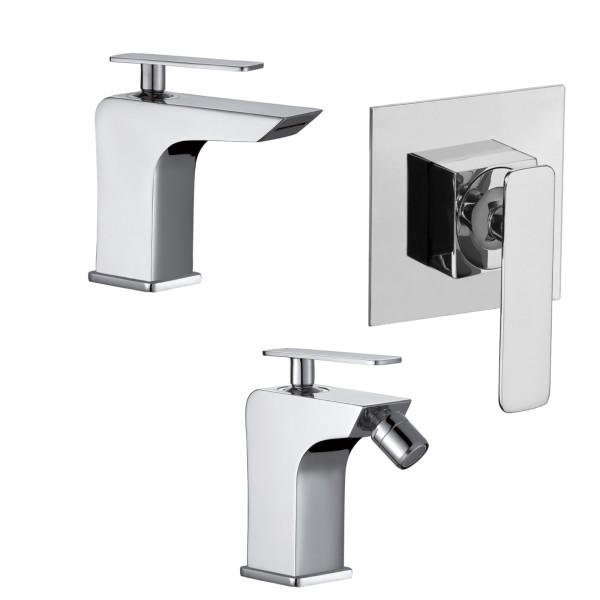 Set miscelatori monocomando bagno quaranta toce lavabo bidet e incasso doccia in ottone cromo