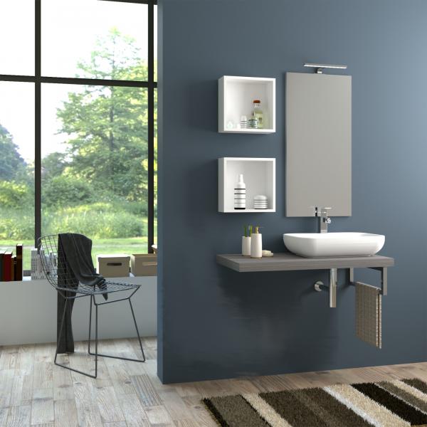 Top in legno da 98 cm senza foro color grigio matrix con specchio e lampada led