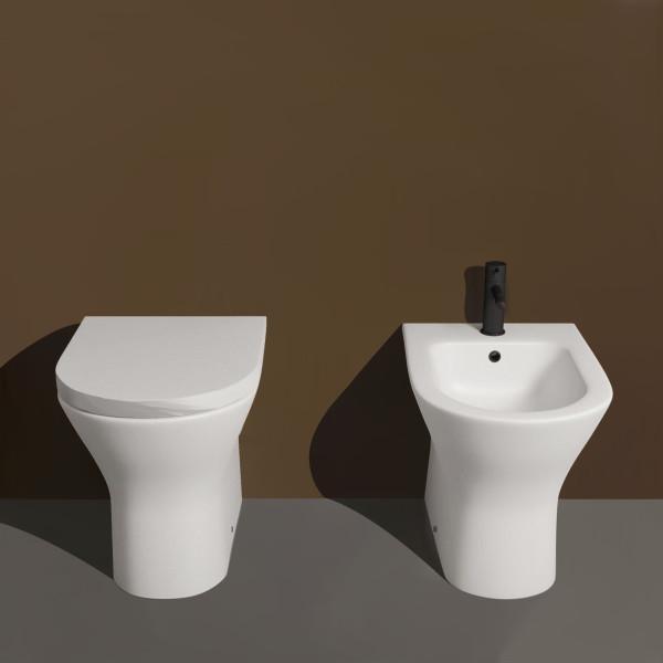 Sanitari filomuro opera sanitari laguna senza brida in ceramica bianco opaco con copriwc avvolgente