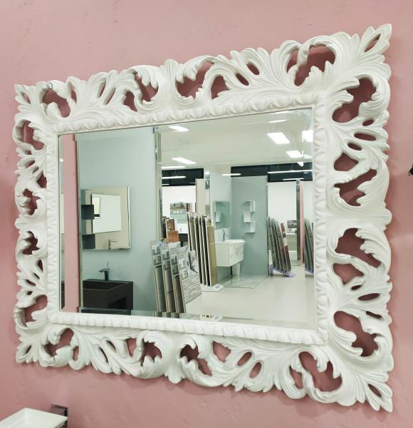 Specchio legno intarsiato bianco 101x82 cm