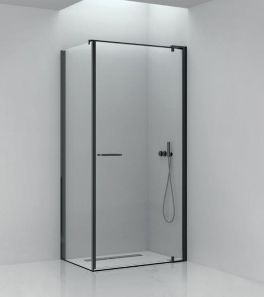 Box doccia 80x100 cm con lato fisso e porta battente in cristallo trasparente