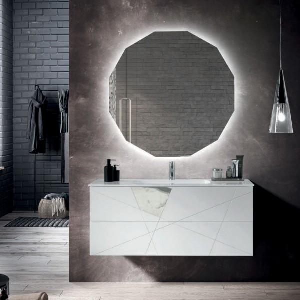 Composizione bagno sospesa crizia 102 cm bianco opaco,inserti effetto marmo con specchio filolucido
