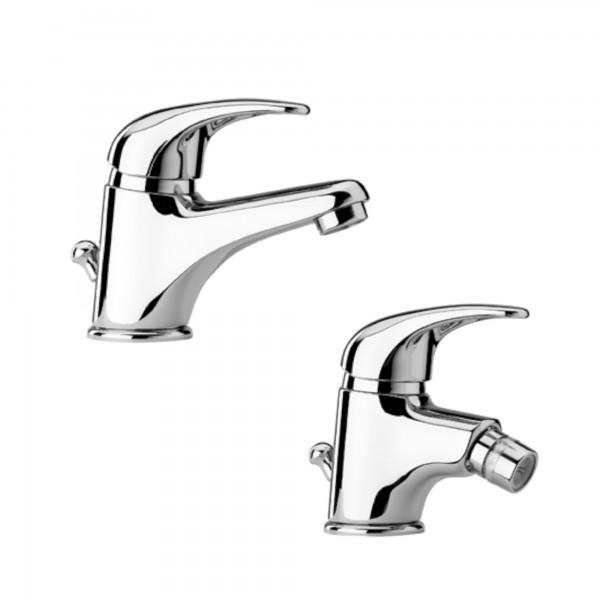 Set miscelatori monocomando bagno piralla zoe lavabo e bidet in ottone cromo con scarico automatico