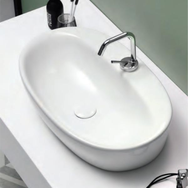 Lavabo da appoggio 64 cm opera sanitari simply in ceramica bianco