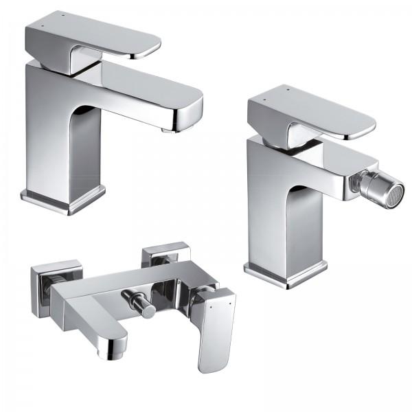 Set miscelatori bagno quaranta maite lavabo bidet ed esterno vasca con duplex in ottone cromo