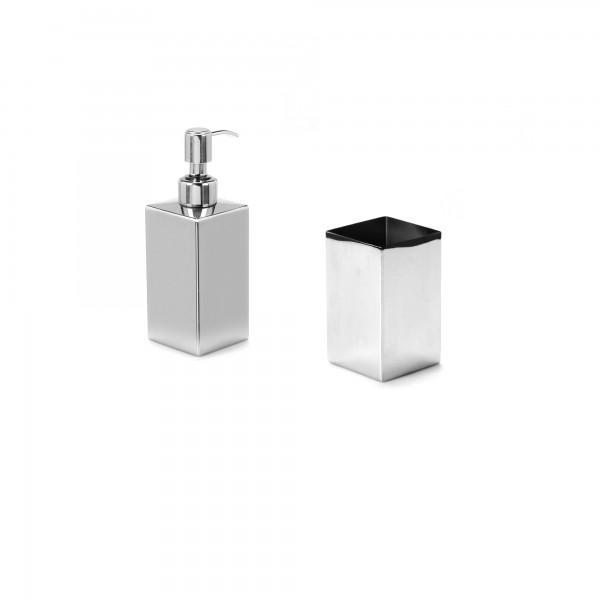 Set accessori gedy nemesia con dispenser e portaspazzolino in acciaio inox cromo