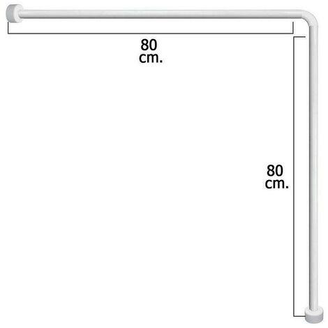 Asta ad angolo per tenda doccia 80x80 cm bianca in alluminio