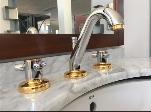 Batteria lavabo tridente cromo oro treemme con scarico tradizionale