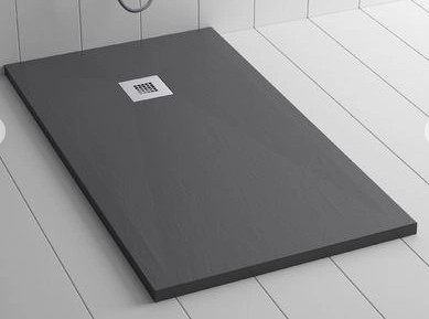 Piatto doccia antracite 80x160 in mineral marmo sp 3cm con piletta inclusa