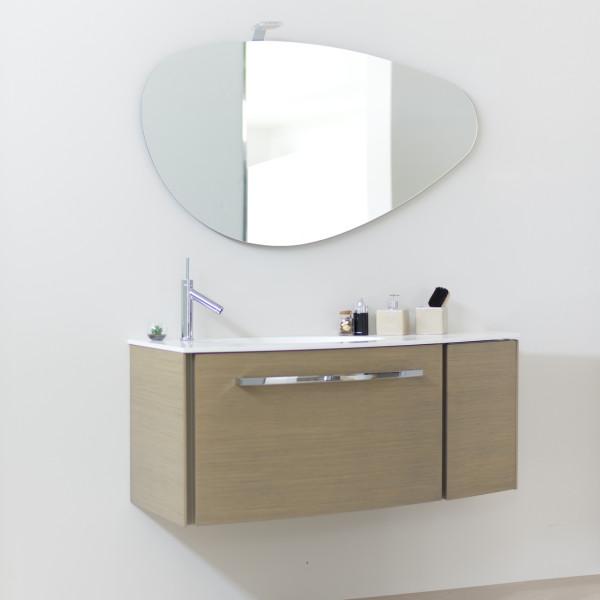 Mobile bagno sospeso 125 cm rovere tortora con specchio e lampada led