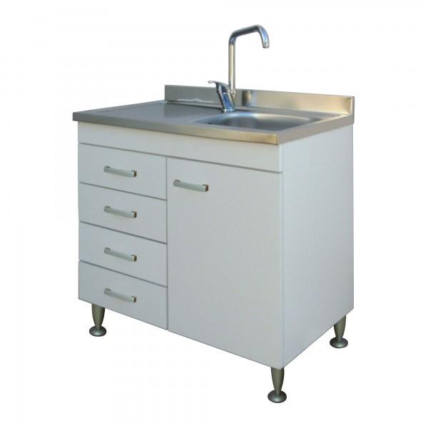 Mobile da cucina 90x50 cm bianco con anta e lavello in acciaio inox con gocciolatoio a sinistra