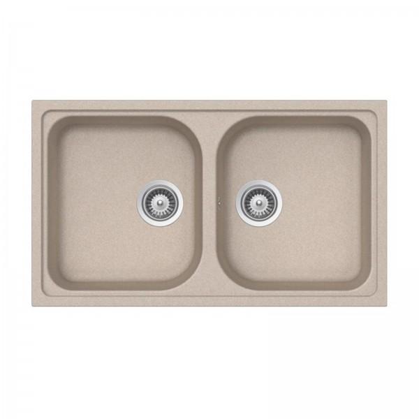 Lavello cucina a due vasche in cristalite 86x50 cm reversibile schock formhaus n200 avena