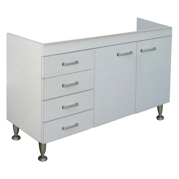 Mobile sottolavello da cucina bianco 120x50 cm con cassettiera a sx per lavelli in acciaio inox