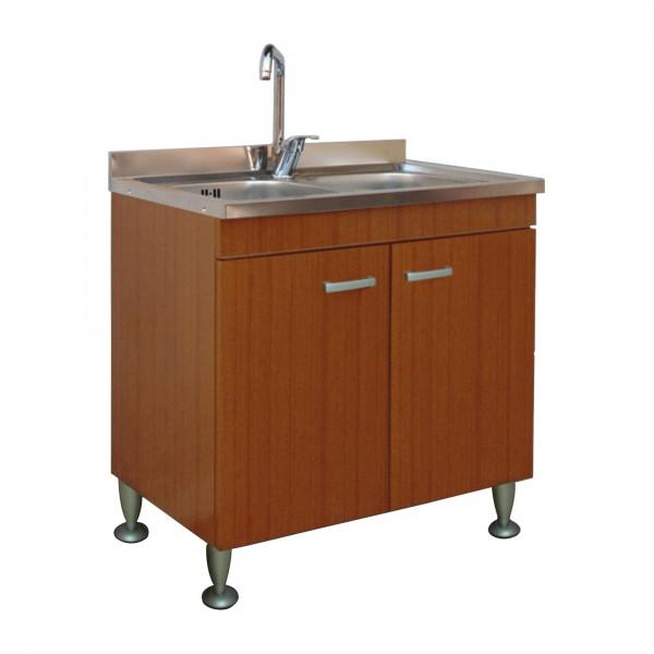 Mobile da cucina 80x50 cm teak a due ante con lavello in acciaio inox a due vasche