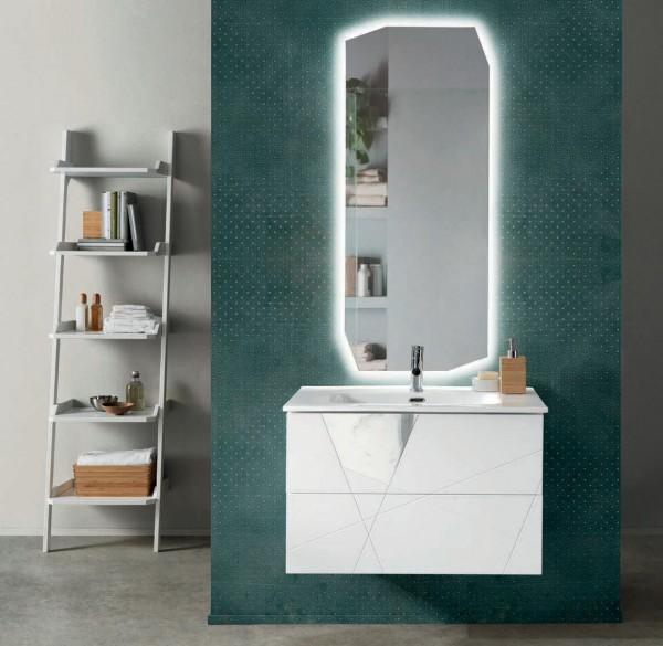 Composizione da bagno crizia 82 sospesa bianco opaco e inserti in vetro in marmo bianco