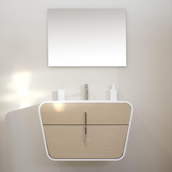 Mobile bagno sospeso 90 cm rovere chiaro con singolo cassetto e specchio filolucido