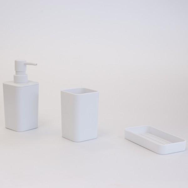 Kit dispenser portaspazzolino e portasaponetta in plastica bianco