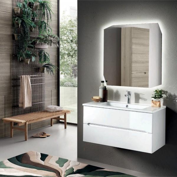 Composizione bagno sospesa atollo 90 cm bianco lucido doppio cassetto con specchio filolucido