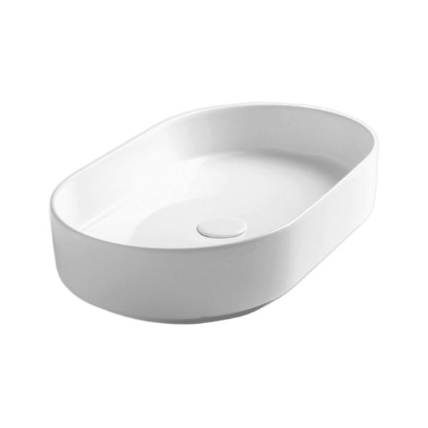 Lavabo da appoggio opera sanitari lama da 60 cm in ceramica bianco