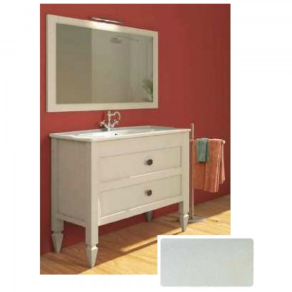 Mobile shabby da 90 cm bianco veneziano doppio cassetto con specchio con applique led cromo