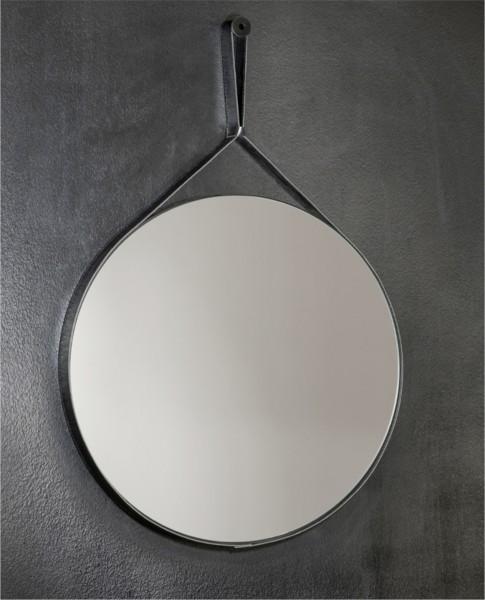 Specchio rotondo da 60 cm con cornice in ecopelle nero