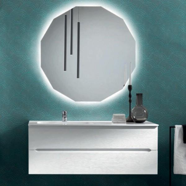 Composizione bagno sospesa atollo 120 cm bianco doppio cassettone vasca a sinistra con specchio filo