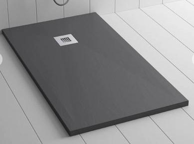 Piatto doccia antracite 80x140 in mineral marmo sp 3cm con piletta inclusa