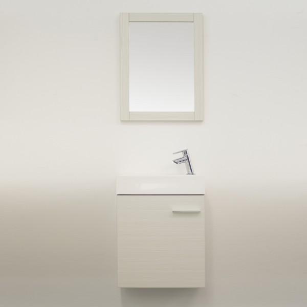 Mobile sospeso bagno 45 cm bianco venato con anta e specchio con cornice