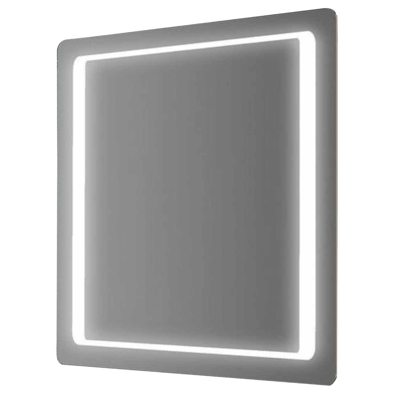 SPECCHIO 100X70 CM CON ANGOLI ARROTONDATI E CORNICE LED