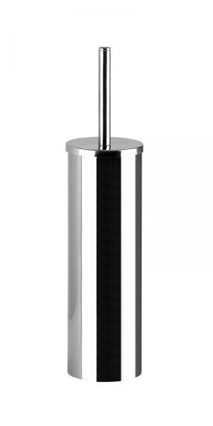 Portascopino cromo d'appoggio in metallo con ciuffo in setole