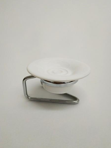 Portasapone bagno piu' in acciaio inox cromo e ceramica