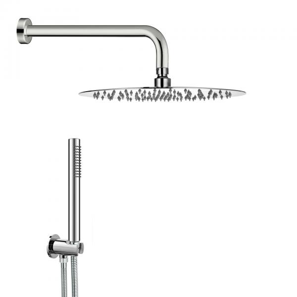 Kit doccia rondo tondo t30 in acciaio inox cromato con soffione diametro 30 cm