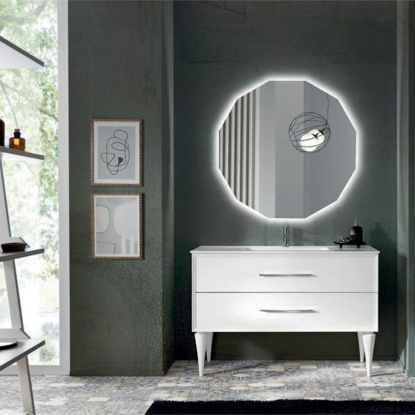 Composizione bagno classic 102 cm bianco opaco piedi sagomati con specchio filolucido