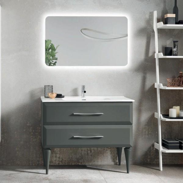 Composizione bagno cleide 102 cm antracite opaco piedi sagomati con specchio filolucido